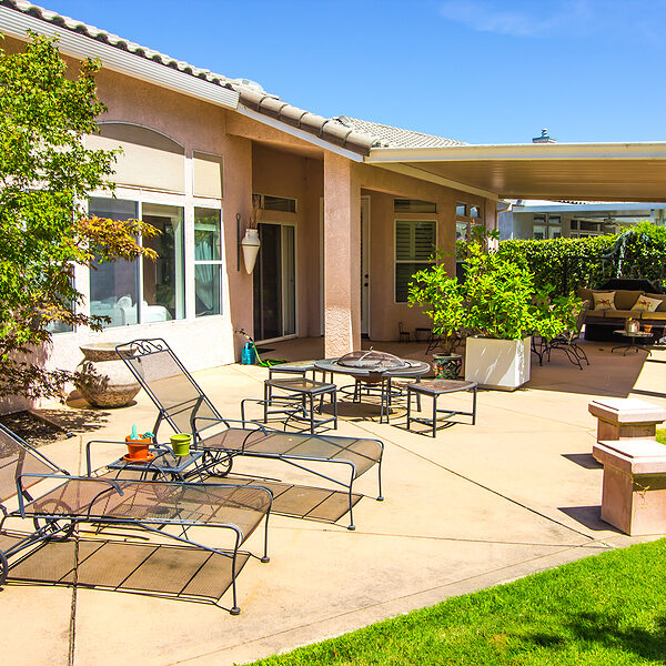 Modern Rear Yard Covered Patio With Outdoor Furniture